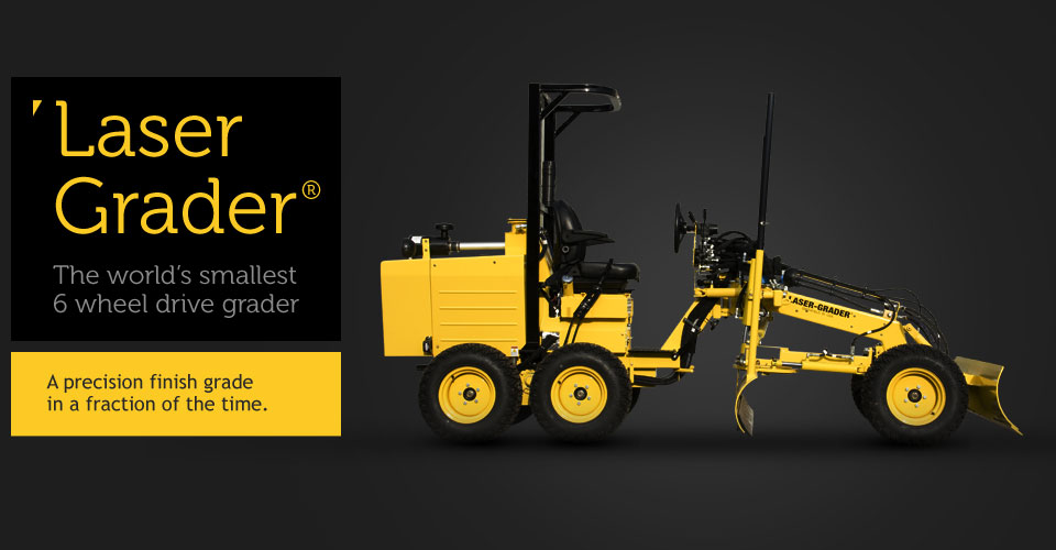 Side view of the laser grader - The world's smallest 6 wheel drive grader.