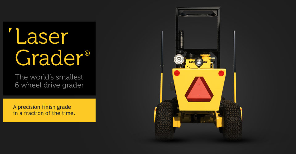 Rear side view of the laser grader - The world's smallest 6 wheel drive grader.